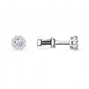 Гвоздики из белого золота с бриллиантами 1020180 фото