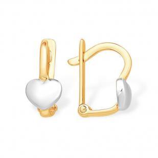 Золотые серьги для девочки Сердечки фото