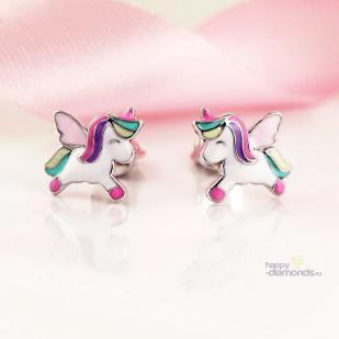Волшебные Единороги серебряные серьги фото