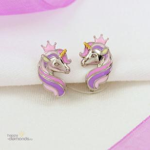 Серебряные серьги Принцесса Единорожка фото