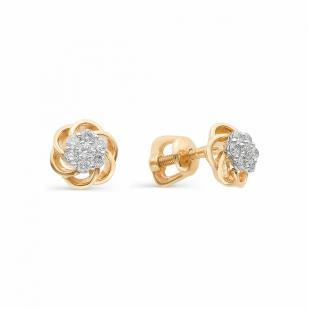 Пусеты с бриллиантами Цветочком из золота 22307-100 фото
