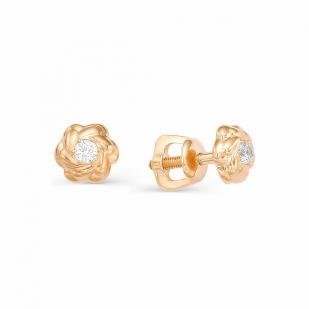 Пусеты розочка с бриллиантами золотые 22503-100 фото