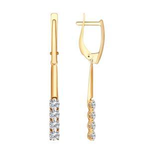 Золотые серьги палочки со swarovski 81020277 фото
