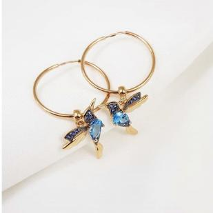 Золотые серьги кольца Колибри топаз 725377 фото