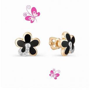 Золотые серьги Цветочек с эмалью и бриллиантом