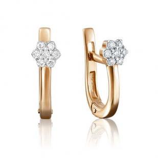 Серьги из золота в форме цветочка с бриллиантами фото