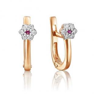 Серьги из золота в форме цветочка с бриллиантами и рубином фото