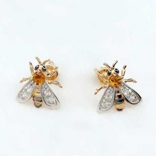 Оригинальные пусеты Пчелки с цитринами и топазами фото