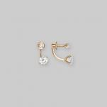 Золотые гвоздики с двумя камушками
