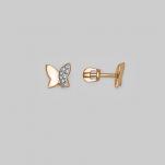 Золотые пусеты в виде бабочек с фианитами