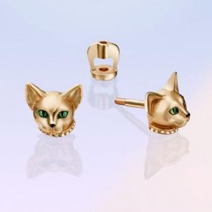 Золотые серьги Зеленоглазые кошки фото