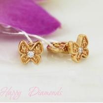 Золотые серьги Бабочки и бриллианты