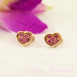 Пусеты из золота Сердца с розовыми сапфирами