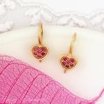 Серьги из золота Сердца с розовыми сапфирами