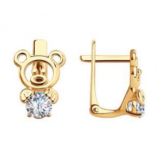 Золотые сережки Медвежонок 029201  фото