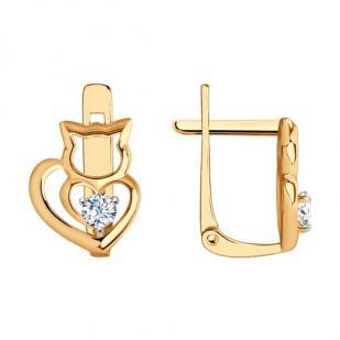 Золотые сережки Кошки с фианитами 029209 фото