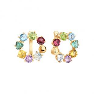 Круглые серьги с цветными камнями из золота фото
