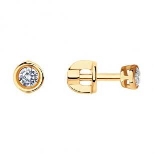 Круглые золотые пусеты с бриллиантами 0.2 карата фото