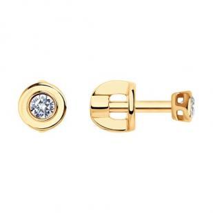 Золотые пусеты с бриллиантами для девочек фото