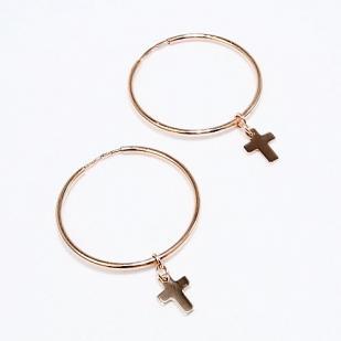 Золотые серьги конго с крестиками 028671 фото
