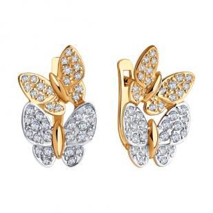 Красивые золотые серьги с бабочками фото