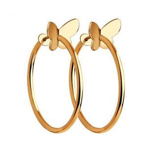 Золотые серьги кольца с бабочками фото