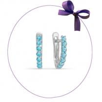 Серьги дорожки из серебра с голубыми фианитами