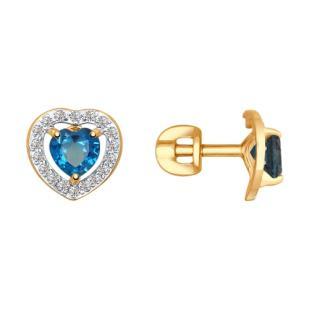Золотые пусеты с лондон топазами сердце 725290 фото
