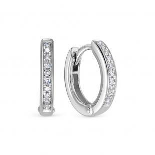 Серьги конго с бриллиантами белое золото фото