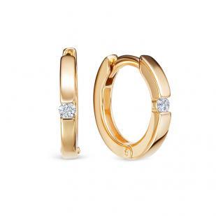 Золотые серьги кольца с бриллиантом фото