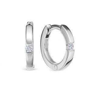Серьги кольца с бриллиантом белое золото фото