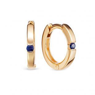золотые серьги кольца с сапфиром фото