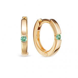 золотые серьги кольца с изумрудом фото