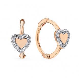 Золотые сережки Сердечки на круглом замке фото