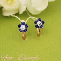 Золотые серьги Цветочки с синими фианитами