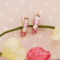 Серьги золотые с розово-белыми фианитами