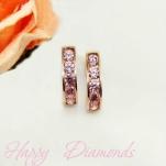Серьги-дорожки с розовыми фианитами на английском замке
