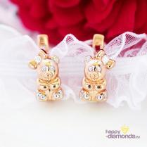 Детские золотые серьги с мишками
