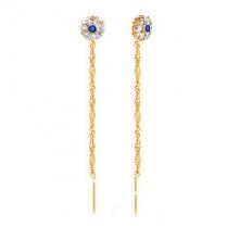 Золотые серьги цепочки Цветок бело-синий
