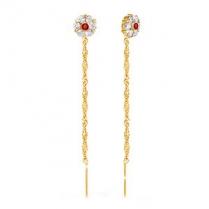 Золотые серьги цепочки Цветок бело-красный