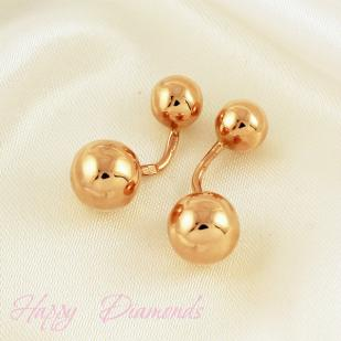 Золотые серьги-пусеты шарики в стиле dior