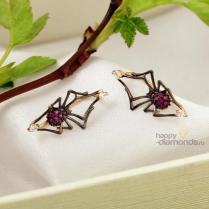 Серьги пауки золотые красный фианит