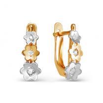 Золотые сережки Три цветочка