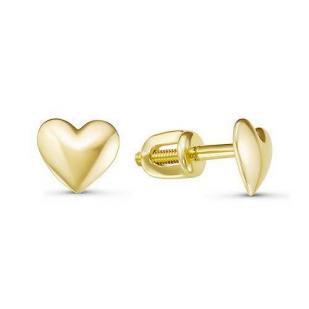 Пусеты сердечки из желтого золота