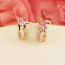 Золотые серьги Сияние розовый фианит