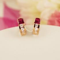 Золотые серьги Сияние фианит рубин