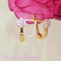Золотые серьги розовый цветок 120/575