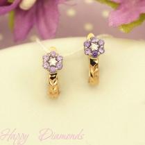 Золотые серьги лиловый цветок 120/586