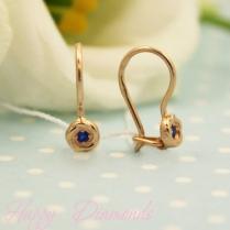 Детские золотые серьги Пуговка синий фианит