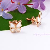 Золотые пусеты Бабочки белые с бриллиантами